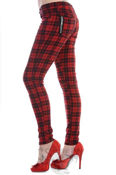 BANNED Ladies Gothic Black / Red Check Skinny Jeans