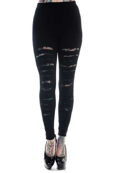BANNED Ladies Gothic Black Slashed Leggings