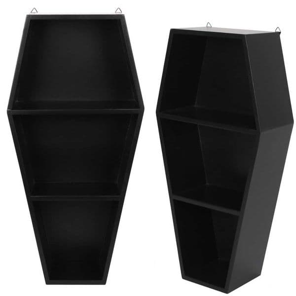 Black Coffin Shaped Wall Art Decor / Shelf Display