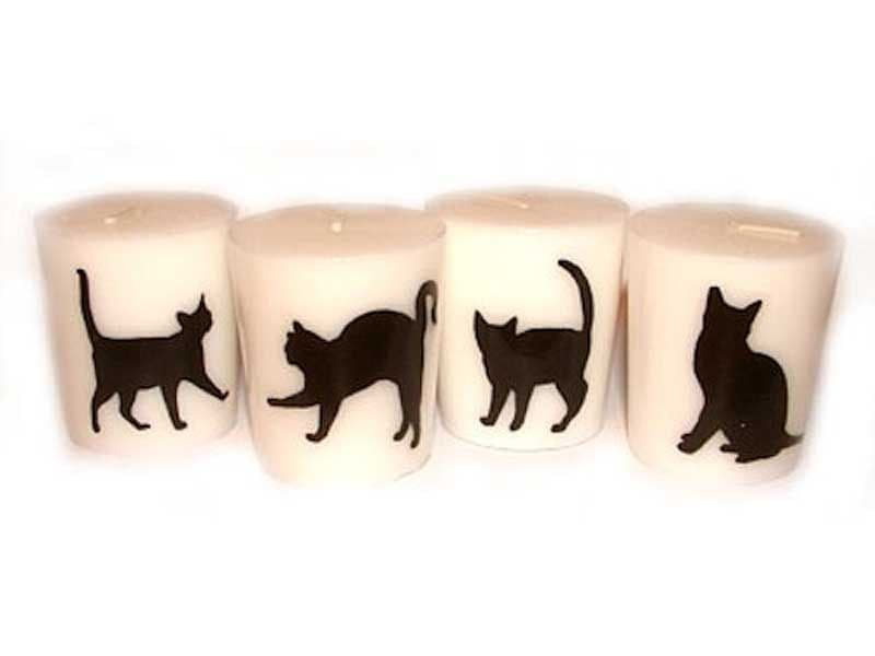 Candle with Black Cat Silhouette ~ 0.5 cm