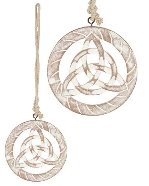 Celtic Triquetra White Wooden Hanging Wall Plaque