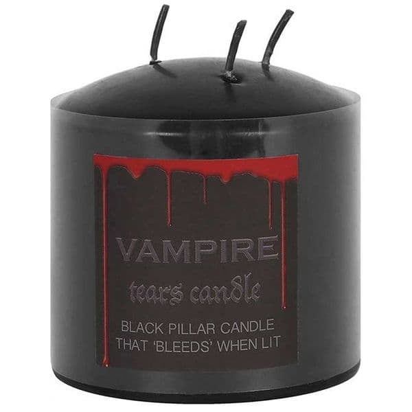 Gothic Vampire Tears Weeping Rose Black Pillar Candle
