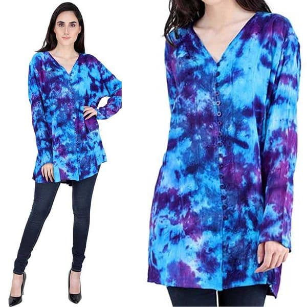 JORDASH Hippy Purple & Turquoise Tie Dye Plus Size Blouse
