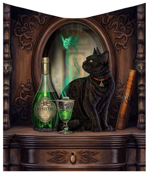 Lisa Parker Absinthe Black Cat & Fairy Throw