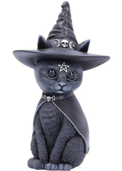 Purrah Witches Hat Occult Cat Figurine by Nemesis Now