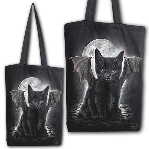 Spiral Direct Gothic Bat Cat Canvas Bag 4 Life