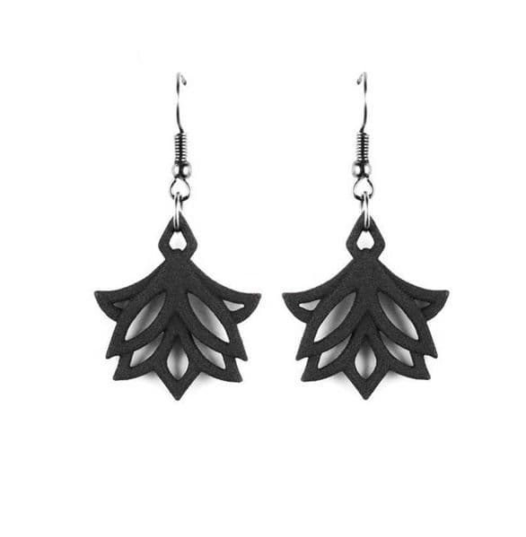 The Rogue + The Wolf Lotus Blossoms Gothic Black Earrings