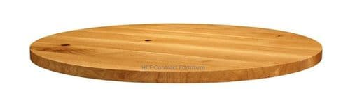 1200mm dia Round x 32mm Thick Natural Lacquered Solid Oak Table Top (P)