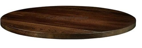 600mm dia Round x 25mm Thick Solid Ash Table Top - Dark Walnut (P)