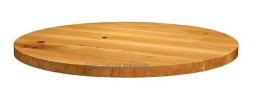 600mm dia Round x 32mm Thick Natural Lacquered Solid Oak Table Top (P)