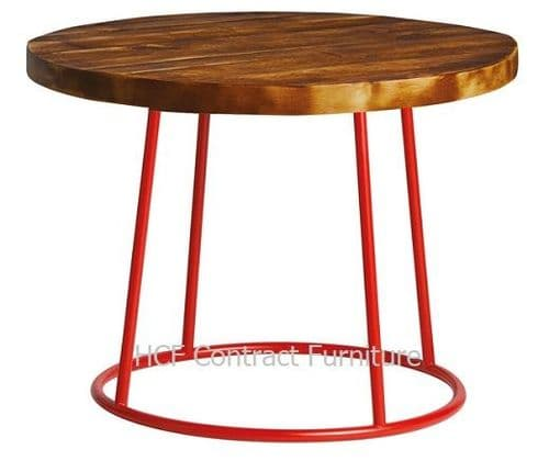 600mm dia Spruce - Complete Coffee Table-Red (P)