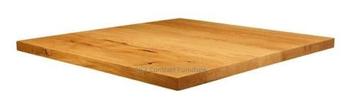 600mm X 600mm X 32mm Thick Natural Lacquered Solid Oak Table Top (P)