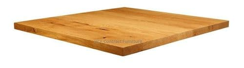 700mm x 700mm x 32mm Thick Natural Lacquered Solid Oak Table Top (P)