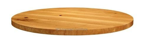 750mm dia Round x 32mm Thick Natural Lacquered Solid Oak Table Top (P)