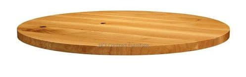 900mm dia Round x 32mm Thick Natural Lacquered Solid Oak Table Top (P)