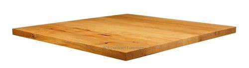 900mm X 900mm X 32mm Thick Natural Lacquered Solid Oak Table Top (P)