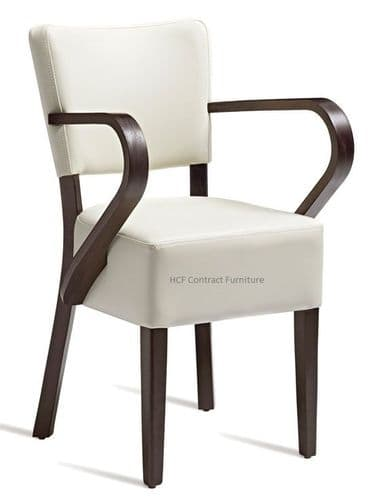 Canterbury Upholstered Arm Chair-Wenge Frame-Cream Faux Leather (BP)