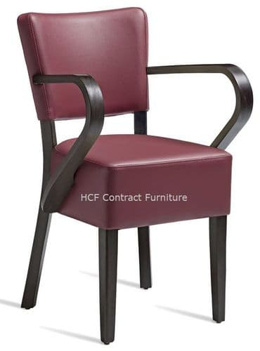 Canterbury Upholstered Arm Chair-Wenge Frame-Dark Wine  Faux Leather (P)