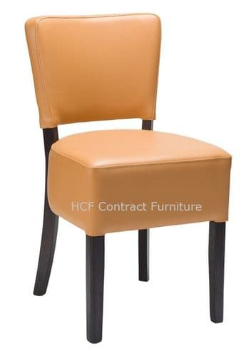 Canterbury Upholstered Side Chair - WENGE FRAME - Ochre Brown (O)