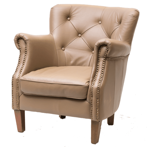 Contract Use Leather Wide Buttoned Winged Chair - Cream
