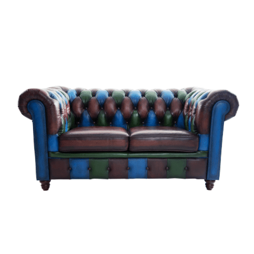 Contract Use Real Leather Chesterfield Multicolour Sofa