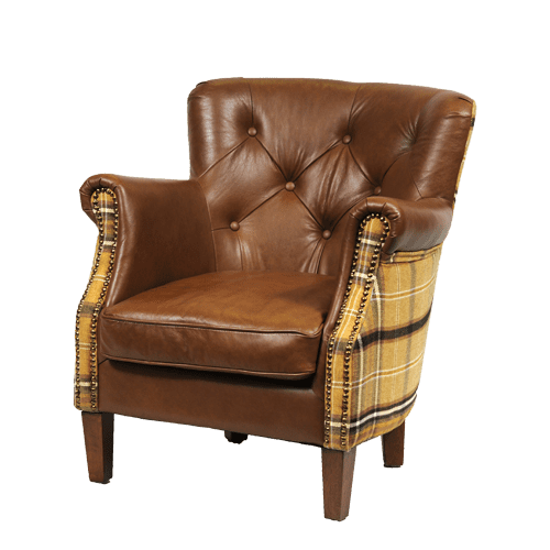 Contract Use Real Leather Wide Buttoned Winged Chair - Braemar