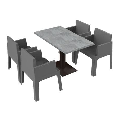Cubix Set - 4 Chairs + DiningTable   -  Available in 7 Colours. Stackable