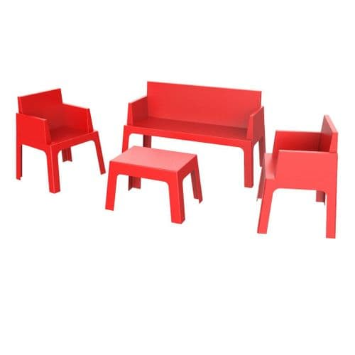 Cubix Set - Sofa + 2 Chairs + Coffee Table   -  Available in 7 Colours. Stackable
