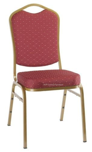 Finola Gold Frame Stacking Chair-Burgandy Red Pattern