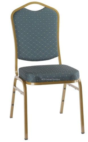 Finola Gold Frame Stacking Chair-Green Pattern