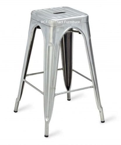 HCF 956BS French Bistro High Stool-Distressed White Matt (O)-FINISHED TO ORDER