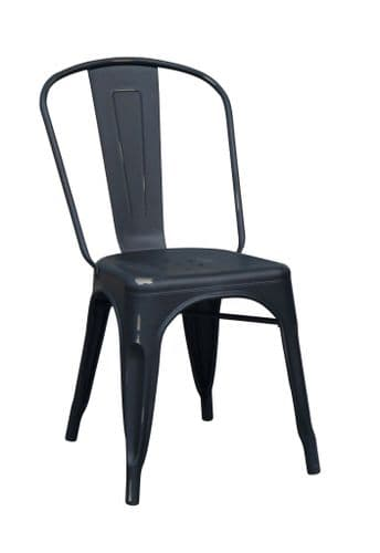 HCF 958 French Bistro Side Chair-Distressed Black Matt(O) FINISHED TO ORDER