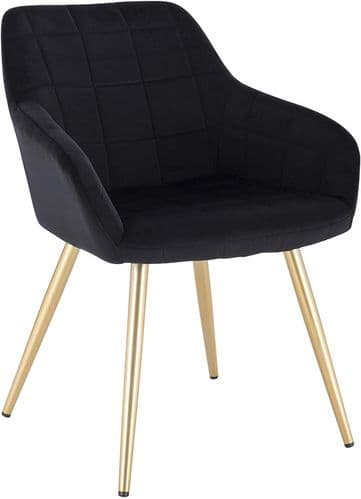 HCF-SQQ1 - Square Quilted Chair -  Black Velvet with Gold Legs