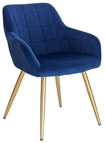HCF-SQQ1 - Square Quilted Chair -  Blue Velvet with Gold Legs