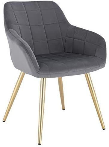 HCF-SQQ1 - Square Quilted Chair -  Grey Velvet with Gold Legs