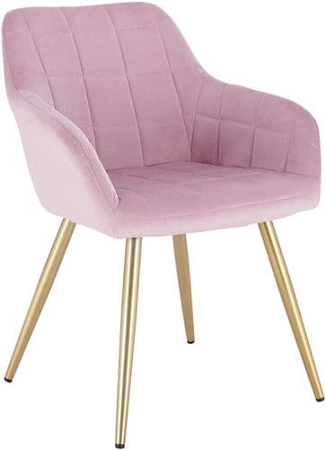 HCF-SQQ1 - Square Quilted Chair -  Pink Velvet with Gold Legs