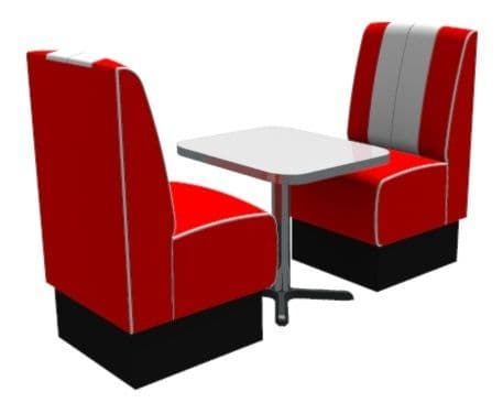 Kansas Retro Fluted 2 Seater Booth Set - Complete with Table.