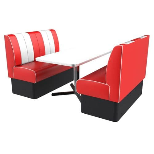 Kansas Retro Fluted 4 Seater Booth Set - Complete with Table.