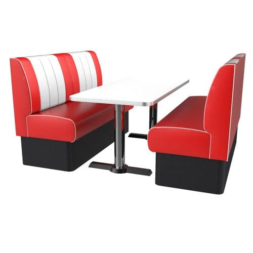 Kansas Retro Fluted 6 Seater Booth Set - Complete with Table.