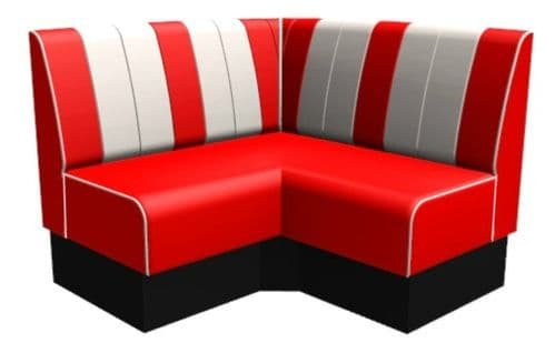 Kansas Retro Fluted Extended Corner Seat - 1200mm Booth