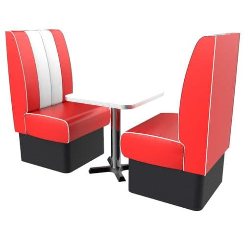 Kansas Retro High Back 2 Seater Standard Booth Set - Complete with Table.
