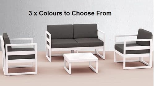 Lemnos Complete Sofa Set - With  Coffee Table & Cushions - Multiple Colours