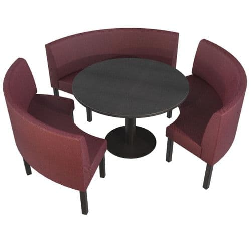 Lifetime Outdoor - Plain back. Groups Large 3/4 Round Dining Booth Set. Includes Table