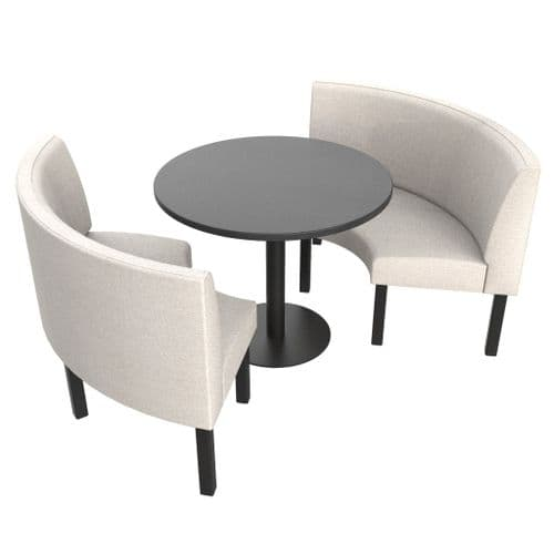 Lifetime Outdoor - Plain back. Groups Medium 1/2 Round Dining Booth Set. Includes Table