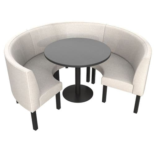 Lifetime Outdoor - Plain back. Groups Medium 3/4 Round Dining Booth Set. Includes Table