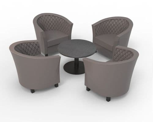 Lifetime OUTDOOR - Quilted Back. 4 x Monaco Tub Style Arm Chairs & Coffee Table . 4 Colours