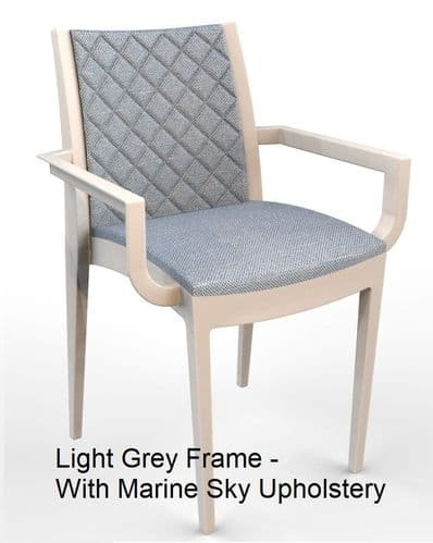 Lifetime Outdoor - Quilted Back.  Arm Chair with Light Grey Frame. Upholstery in 4 Colours
