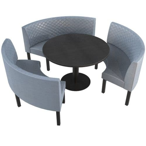 Lifetime Outdoor - Quilted Back. Groups Large 3/4 Round Dining Booth Set. Includes Table