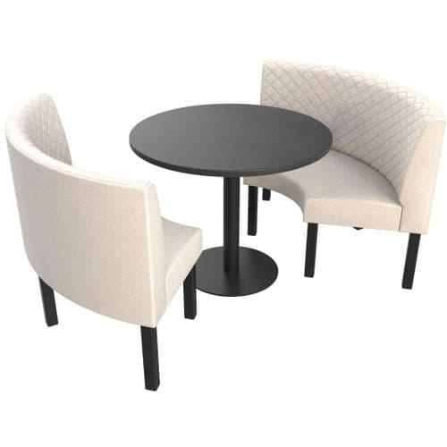 Lifetime Outdoor - Quilted Back. Groups Medium 1/2 Round Dining Booth Set. Includes Table