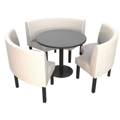 Lifetime Outdoor - Quilted Back. Groups Medium 3/4 Round Dining Booth Set. Includes Table